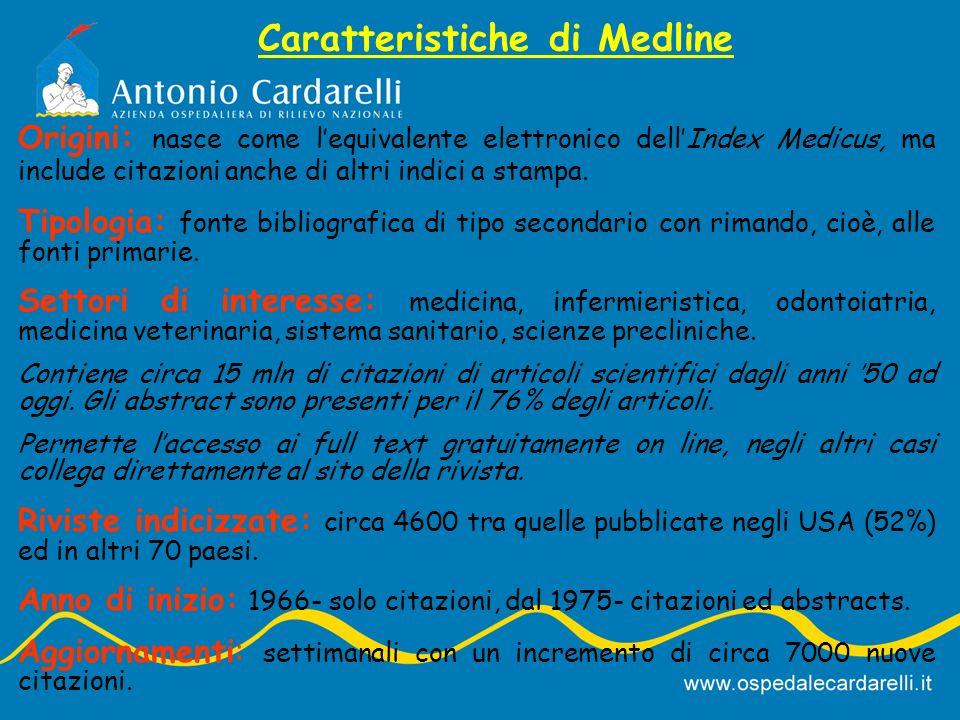 Caratteristiche di Medline Origini: nasce come lequivalente elettronico dellIndex Medicus, ma include citazioni anche di altri indici a stampa.