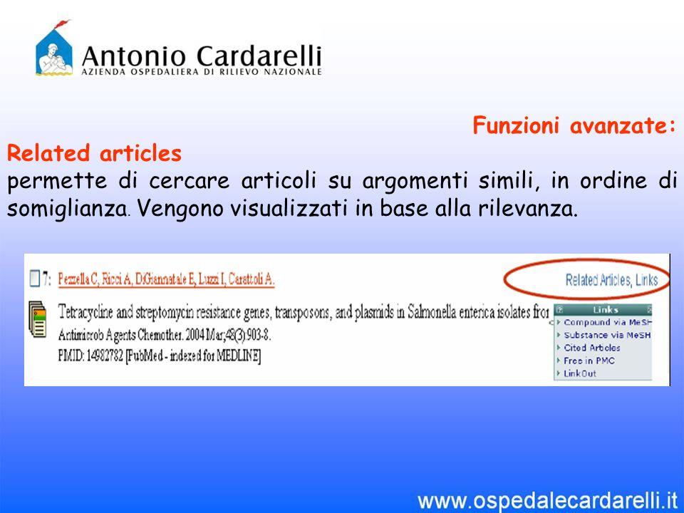 Funzioni avanzate: Related articles permette di cercare articoli su argomenti simili, in ordine di somiglianza.