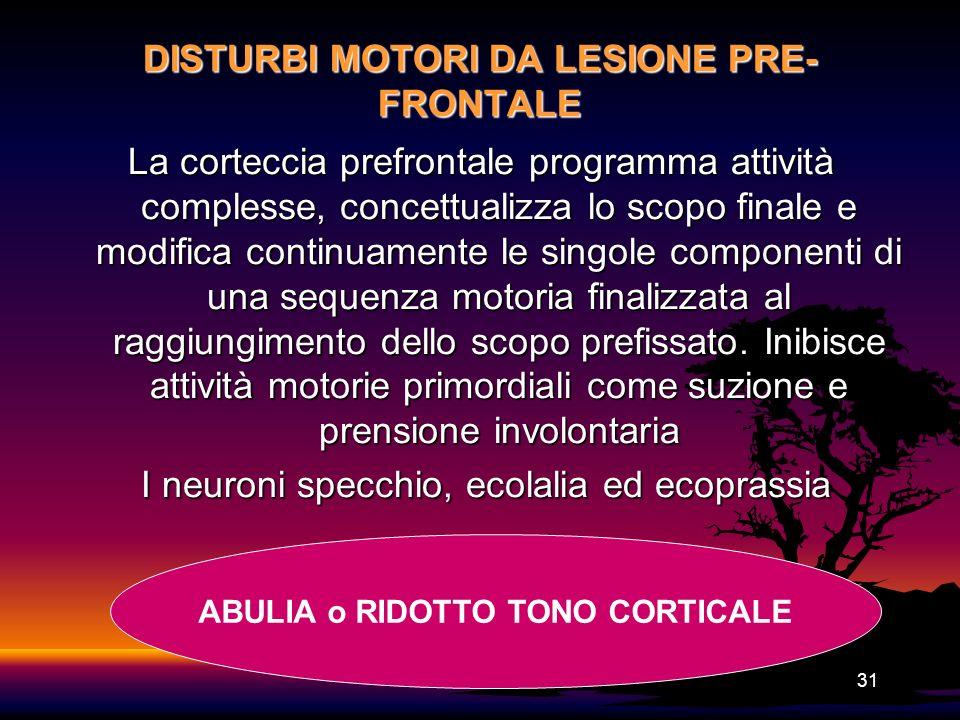 31 DISTURBI MOTORI DA LESIONE PRE- FRONTALE La corteccia prefrontale programma attività complesse, concettualizza lo scopo finale e modifica continuam