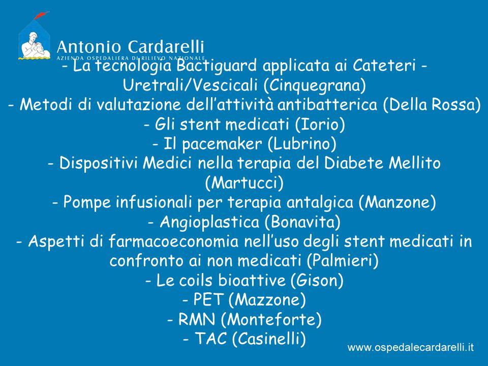 - La tecnologia Bactiguard applicata ai Cateteri - Uretrali/Vescicali (Cinquegrana) - Metodi di valutazione dellattività antibatterica (Della Rossa) -