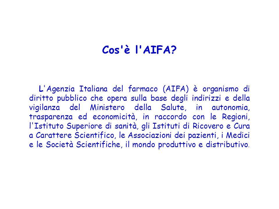 Cos'è l'AIFA? L'Agenzia Italiana del farmaco (AIFA) è organismo di diritto pubblico che opera sulla base degli indirizzi e della vigilanza del Ministe