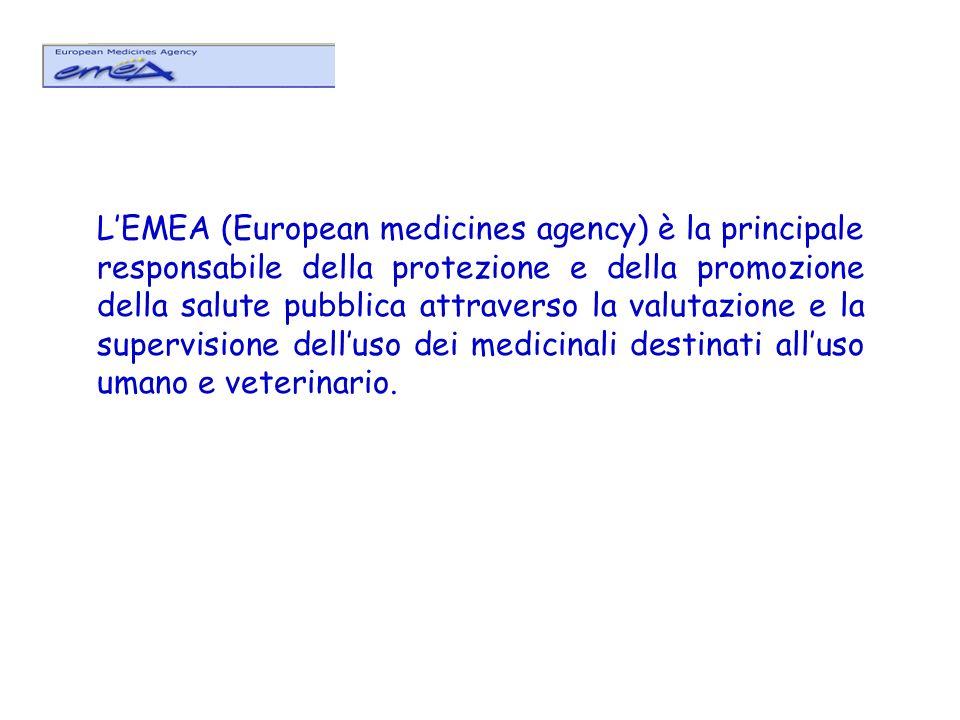 LEMEA (European medicines agency) è la principale responsabile della protezione e della promozione della salute pubblica attraverso la valutazione e l