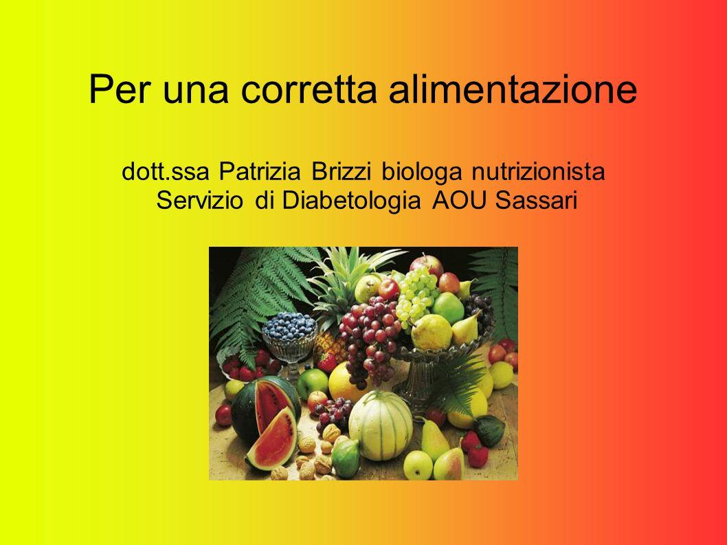 Per una corretta alimentazione dott.ssa Patrizia Brizzi biologa nutrizionista Servizio di Diabetologia AOU Sassari