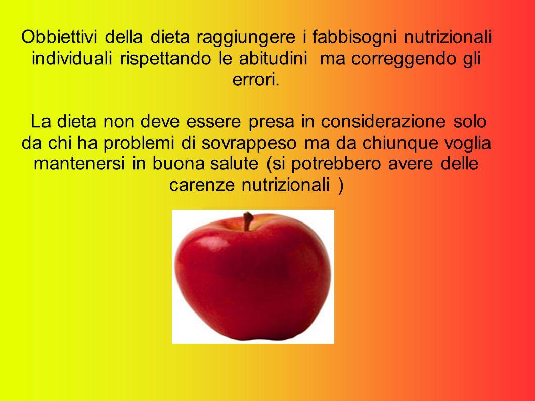 Obbiettivi della dieta raggiungere i fabbisogni nutrizionali individuali rispettando le abitudini ma correggendo gli errori. La dieta non deve essere