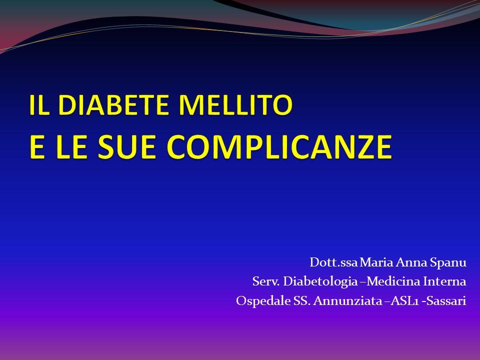 Nefropatia diabetica Complicanza CRONICA del DM 1 e 2 che può essere responsabile di insufficienza renale terminale e dellaumento significativo del rischio cardiovascolare duratacompenso ipertensione malattie cardiovascolari dislipidemiefamiliarità È correlata alla durata e al compenso del diabete, alla presenza di ipertensione arteriosa e di malattie cardiovascolari, alla presenza di dislipidemie, e alla familiarità