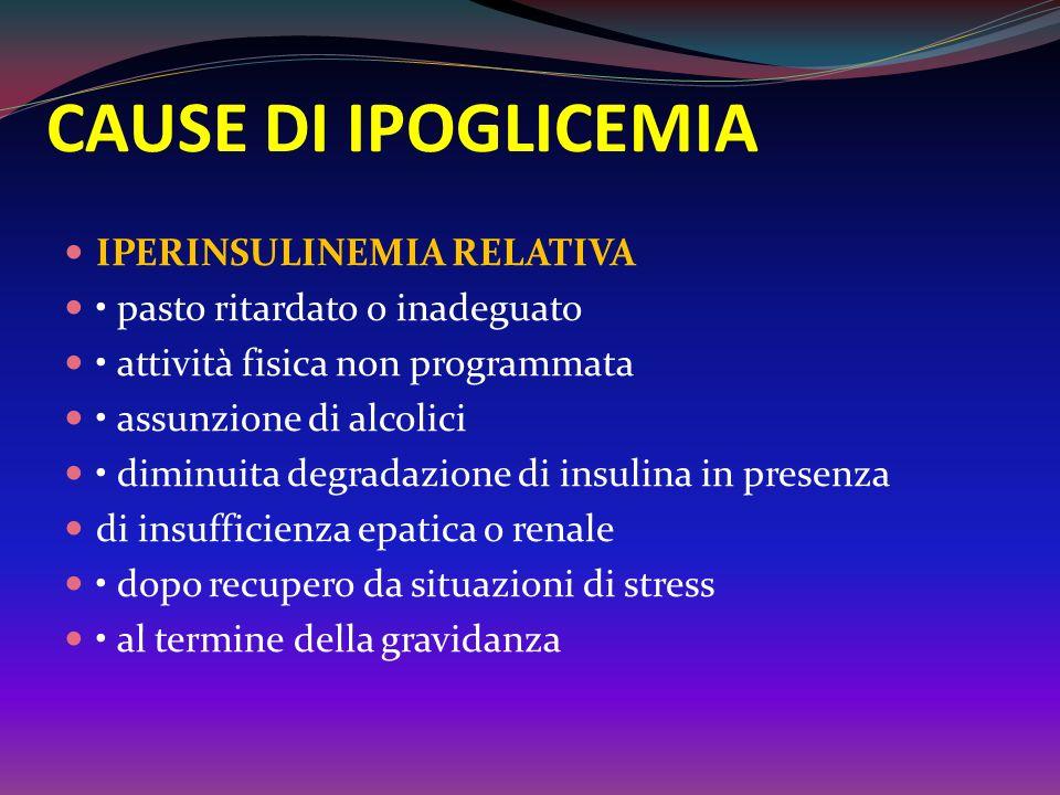 Ipoglicemia Complicanza ACUTA più frequente nel diabete È più frequentemente la conseguenza di unassunzione eccessiva di insulina o di farmaci che sti