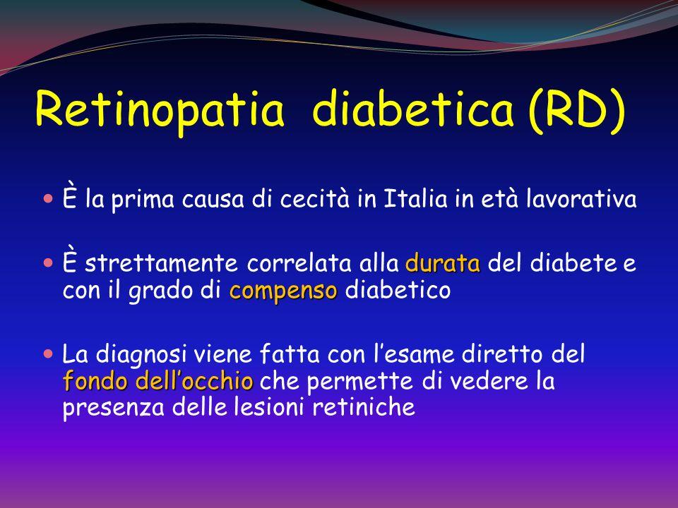 RETINOPATIA DIABETICA (RD) P. Melga -DiSEM - Univ. Genova La cecità è una delle complicanze più gravi e frequenti del diabete. La RD è la causa più fr