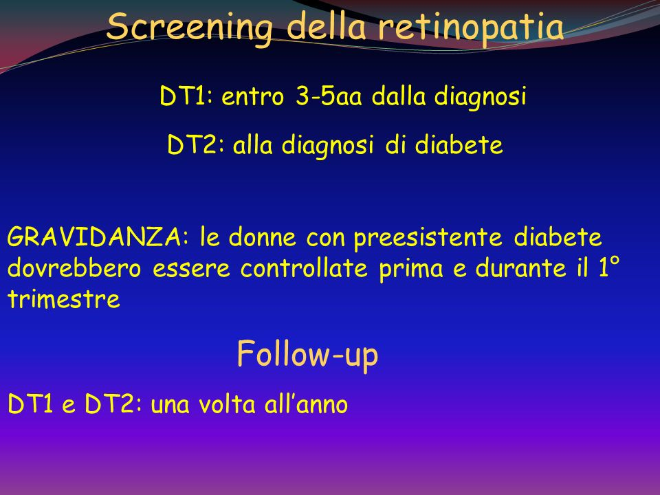 Classificazione e storia naturale della retinopatia diabetica RD non proliferativa o background retinopathy Lieve Moderata Severa RD proliferativa Mal