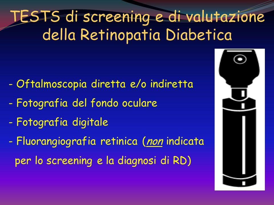 Screening della retinopatia DT1: entro 3-5aa dalla diagnosi DT2: alla diagnosi di diabete GRAVIDANZA: le donne con preesistente diabete dovrebbero ess