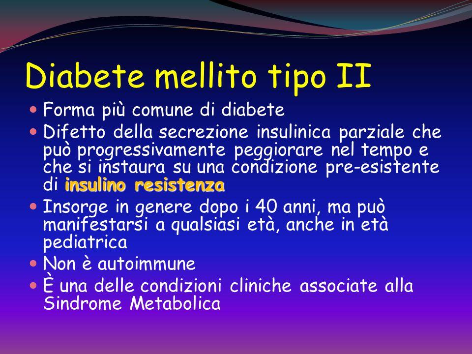 Diabete mellito tipo II Forma più comune di diabete insulino resistenza Difetto della secrezione insulinica parziale che può progressivamente peggiorare nel tempo e che si instaura su una condizione pre-esistente di insulino resistenza Insorge in genere dopo i 40 anni, ma può manifestarsi a qualsiasi età, anche in età pediatrica Non è autoimmune È una delle condizioni cliniche associate alla Sindrome Metabolica