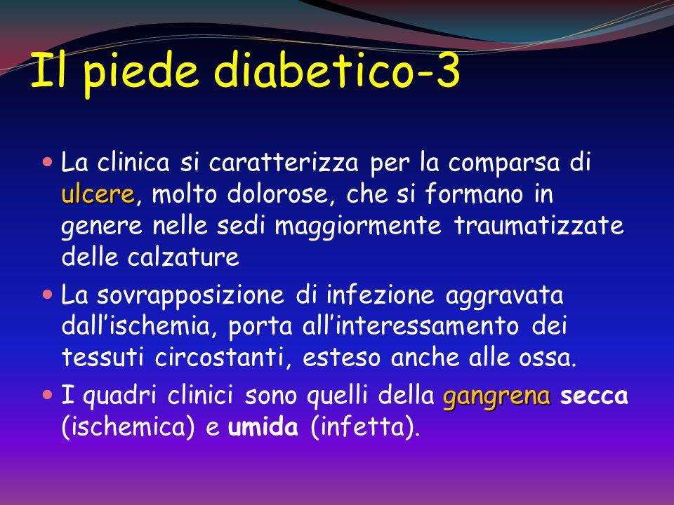 Il piede diabetico-2 Il piede diabetico compare in soggetti diabetici che già da tempo presentano segni di insufficienza arteriosa: Ridotta temperatur