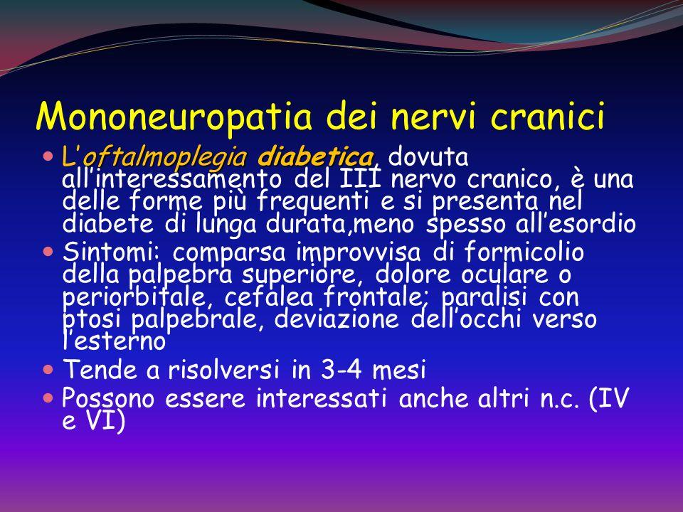 Mononeuropatia Mononeuropatia periferica Danno di un singolo nervo dovuto a compressione o ischemia Si verifica al polso (sindrome del tunnel carpale)