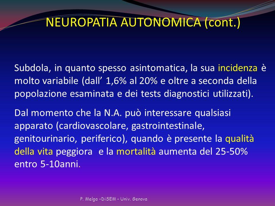Neuropatia autonomica Colpisce I nervi del sistema nervoso autonomo che controllano gli organi interni Periferico Genitourinario Gastrointestinale Car