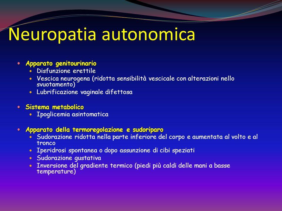 Neuropatia Autonomica ccardiovascolare Sintomi/ Segni Intolleranza allo sforzo Ipotensione ortostatica Trattamento Discontinuare farmaci che possono a