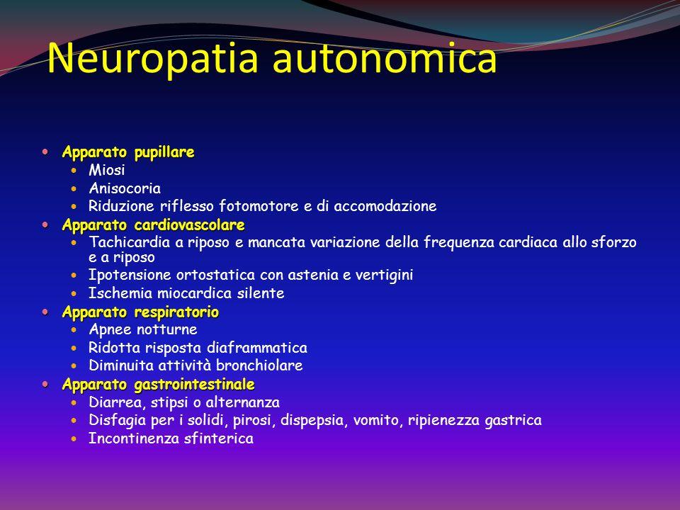 Neuropatia autonomica Apparato genitourinario Apparato genitourinario Disfunzione erettile Vescica neurogena (ridotta sensibilità vescicale con altera