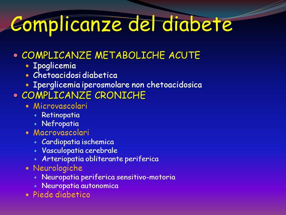 Complicanze del diabete COMPLICANZE METABOLICHE ACUTE COMPLICANZE METABOLICHE ACUTE Ipoglicemia Chetoacidosi diabetica Iperglicemia iperosmolare non chetoacidosica COMPLICANZE CRONICHE COMPLICANZE CRONICHE Microvascolari Retinopatia Nefropatia Macrovascolari Cardiopatia ischemica Vasculopatia cerebrale Arteriopatia obliterante periferica Neurologiche Neuropatia periferica sensitivo-motoria Neuropatia autonomica Piede diabetico