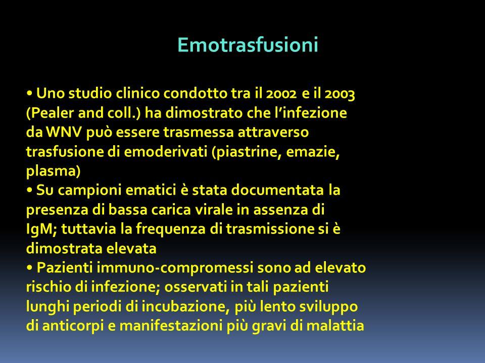 Emotrasfusioni Uno studio clinico condotto tra il 2002 e il 2003 (Pealer and coll.) ha dimostrato che linfezione da WNV può essere trasmessa attravers
