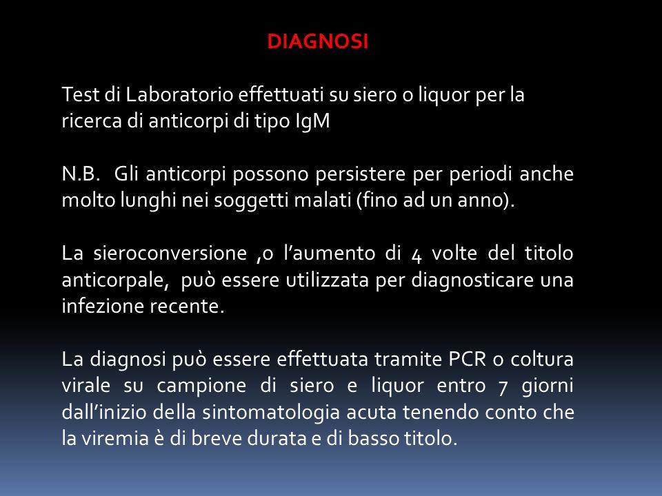 DIAGNOSI Test di Laboratorio effettuati su siero o liquor per la ricerca di anticorpi di tipo IgM N.B. Gli anticorpi possono persistere per periodi an