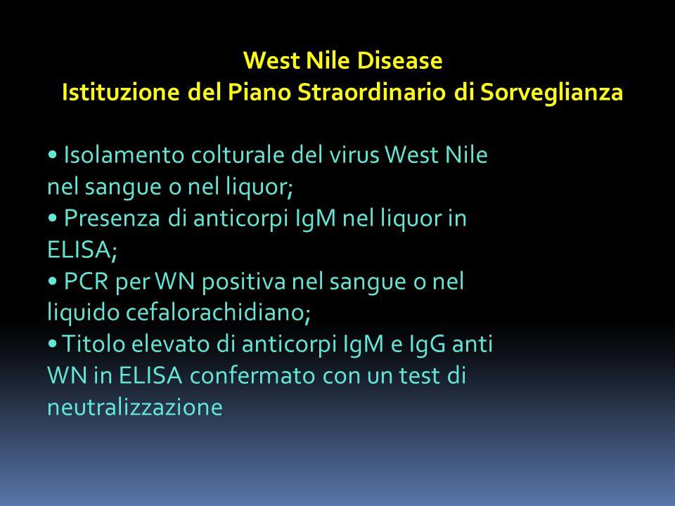 West Nile Disease Istituzione del Piano Straordinario di Sorveglianza Isolamento colturale del virus West Nile nel sangue o nel liquor; Presenza di an