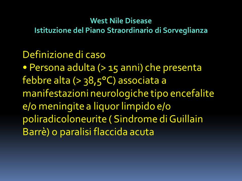 West Nile Disease Istituzione del Piano Straordinario di Sorveglianza Definizione di caso Persona adulta (> 15 anni) che presenta febbre alta (> 38,5°