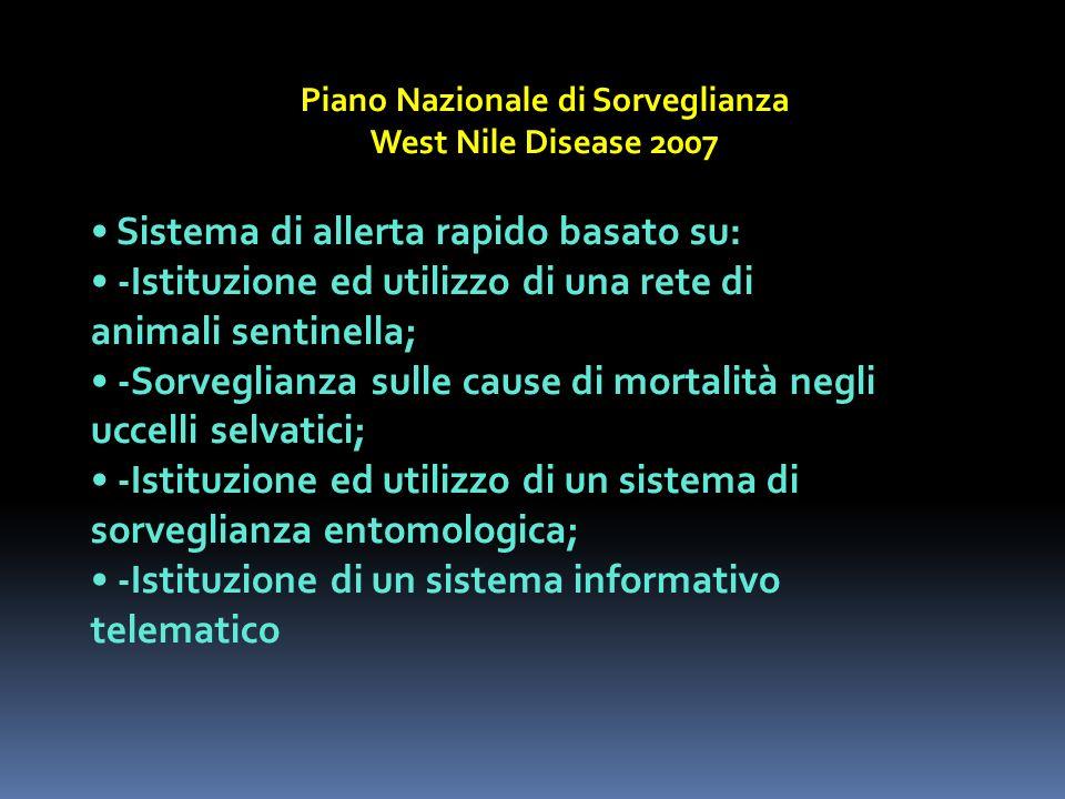 Piano Nazionale di Sorveglianza West Nile Disease 2007 Sistema di allerta rapido basato su: -Istituzione ed utilizzo di una rete di animali sentinella