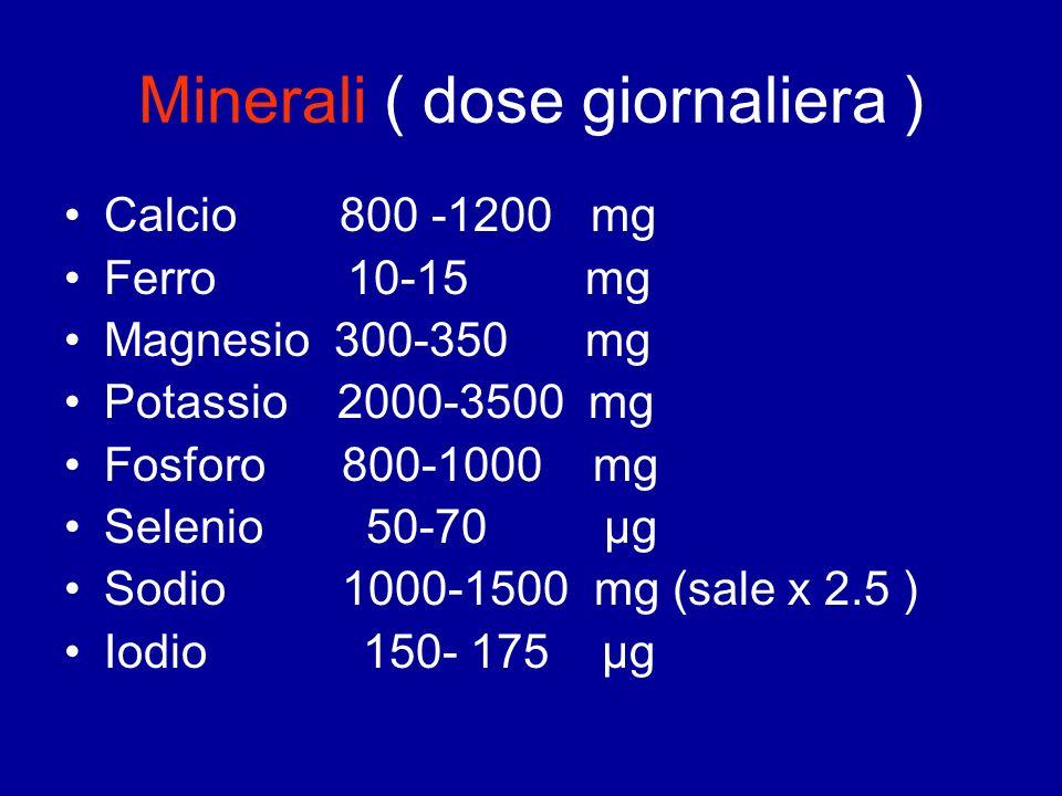 Minerali ( dose giornaliera ) Calcio 800 -1200 mg Ferro 10-15 mg Magnesio 300-350 mg Potassio 2000-3500 mg Fosforo 800-1000 mg Selenio 50-70 μg Sodio
