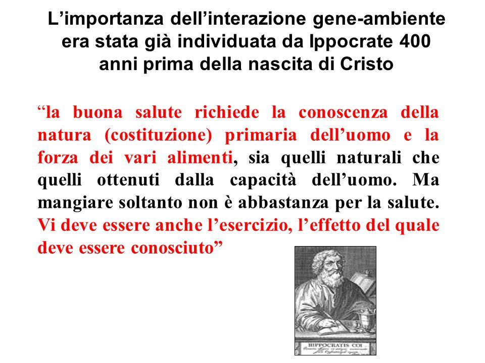 Limportanza dellinterazione gene-ambiente era stata già individuata da Ippocrate 400 anni prima della nascita di Cristo la buona salute richiede la co
