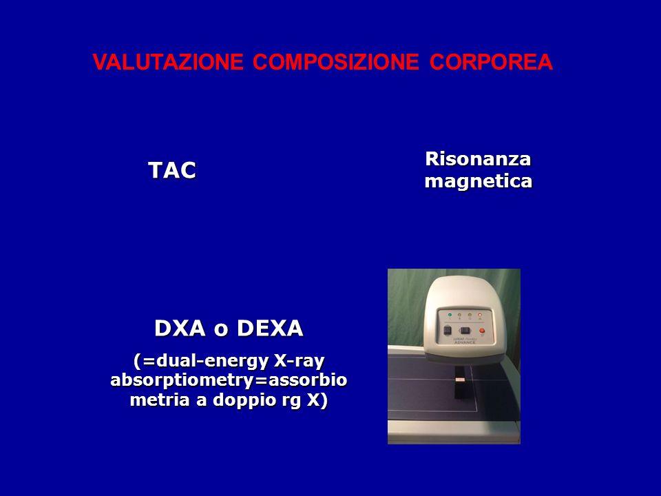 TAC Risonanza magnetica DXA o DEXA (=dual-energy X-ray absorptiometry=assorbio metria a doppio rg X) VALUTAZIONE COMPOSIZIONE CORPOREA