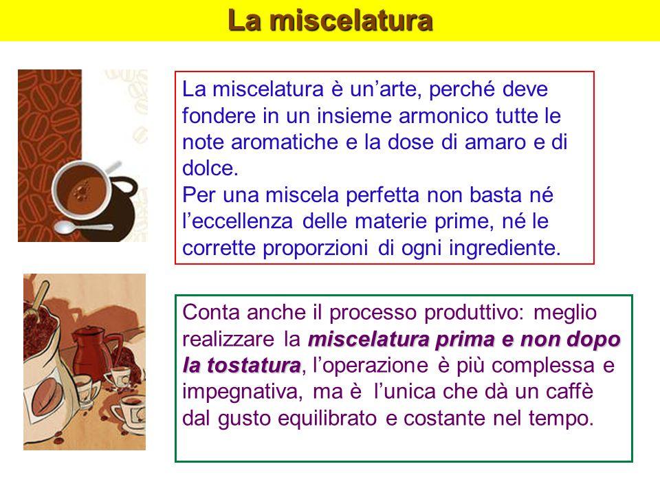 La miscelatura La miscelatura è unarte, perché deve fondere in un insieme armonico tutte le note aromatiche e la dose di amaro e di dolce. Per una mis