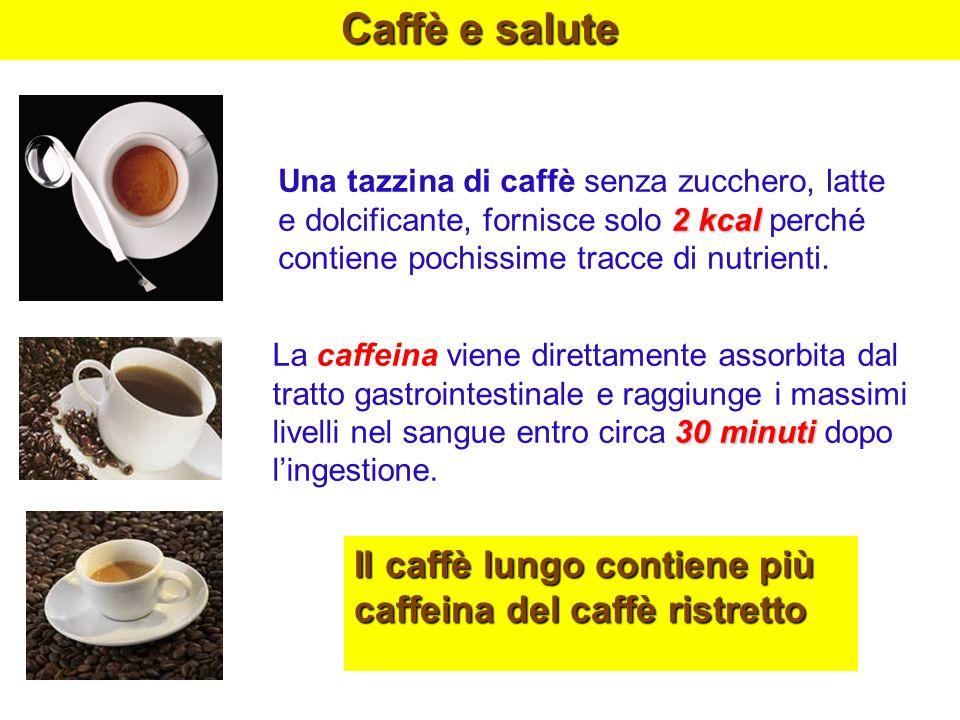 Caffè e salute 2 kcal Una tazzina di caffè senza zucchero, latte e dolcificante, fornisce solo 2 kcal perché contiene pochissime tracce di nutrienti.