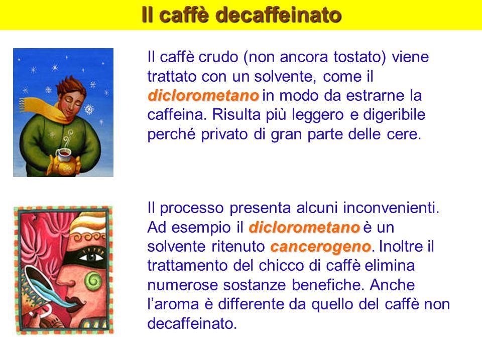 Il caffè decaffeinato diclorometano Il caffè crudo (non ancora tostato) viene trattato con un solvente, come il diclorometano in modo da estrarne la c