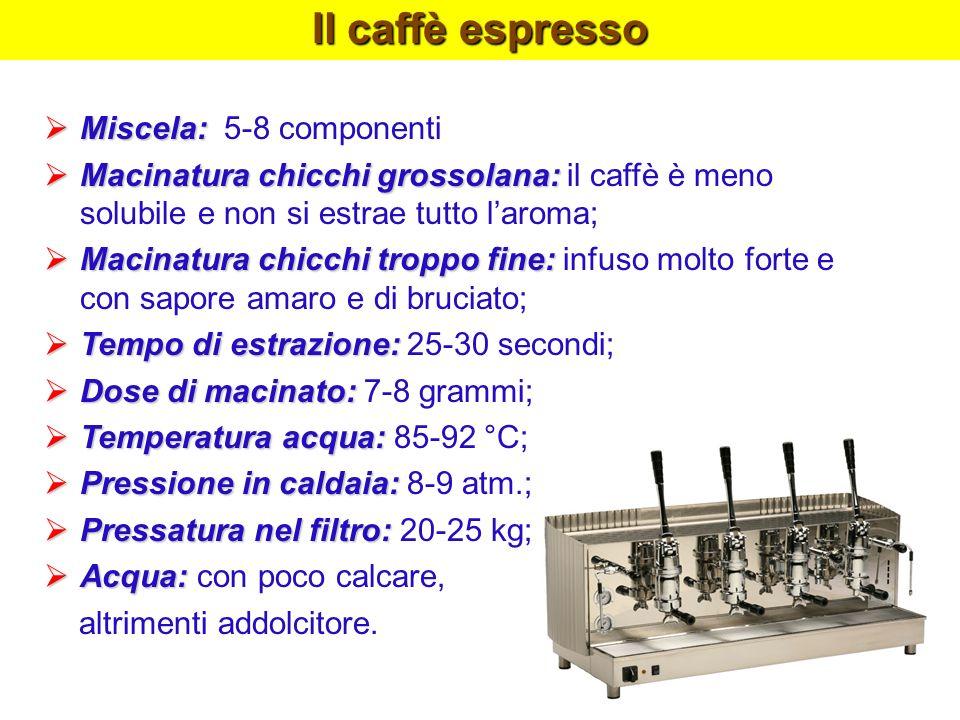 Il caffè espresso Miscela: Miscela: 5-8 componenti Macinatura chicchi grossolana: Macinatura chicchi grossolana: il caffè è meno solubile e non si est