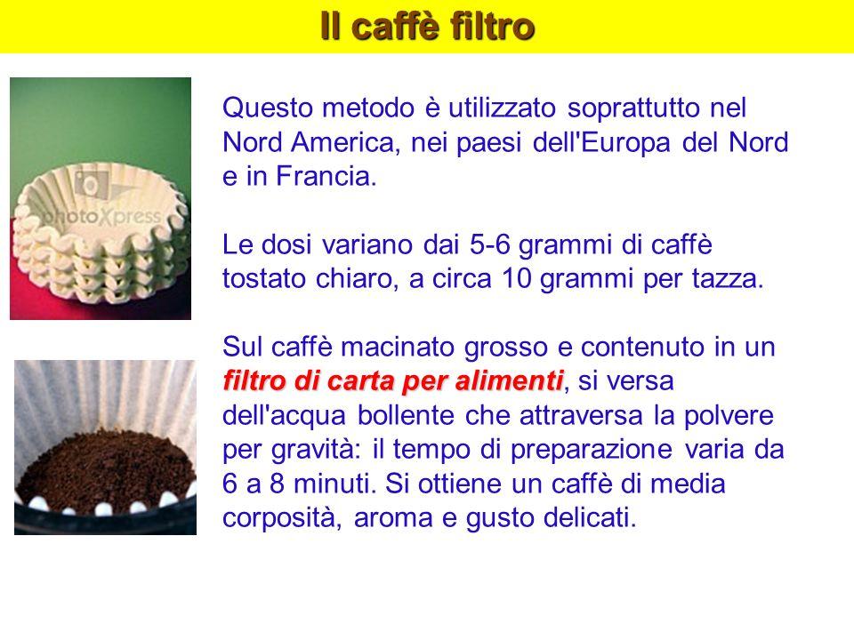 Il caffè filtro Questo metodo è utilizzato soprattutto nel Nord America, nei paesi dell'Europa del Nord e in Francia. Le dosi variano dai 5-6 grammi d