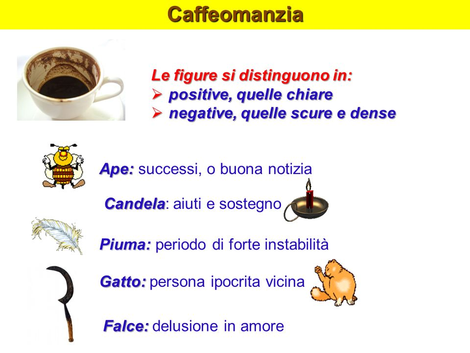 Caffeomanzia Le figure si distinguono in: positive, quelle chiare positive, quelle chiare negative, quelle scure e dense negative, quelle scure e dens