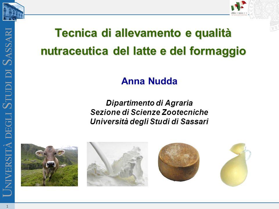 1 Tecnica di allevamento e qualità nutraceutica del latte e del formaggio Anna Nudda Dipartimento di Agraria Sezione di Scienze Zootecniche Università