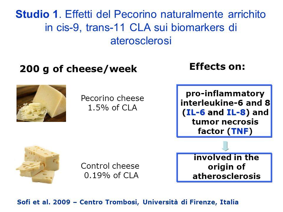 Studio 1. Effetti del Pecorino naturalmente arrichito in cis-9, trans-11 CLA sui biomarkers di aterosclerosi Sofi et al. 2009 – Centro Trombosi, Unive