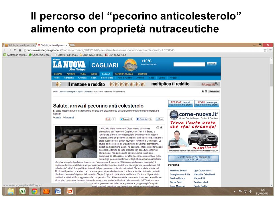 Anche in Sardegna il Pecorino ha un contenuto di omega-3 di gran lunga superiore agli altri formaggi nostri dati n.p.