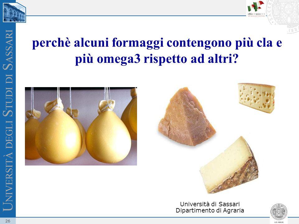 26 perchè alcuni formaggi contengono più cla e più omega3 rispetto ad altri? Università di Sassari Dipartimento di Agraria