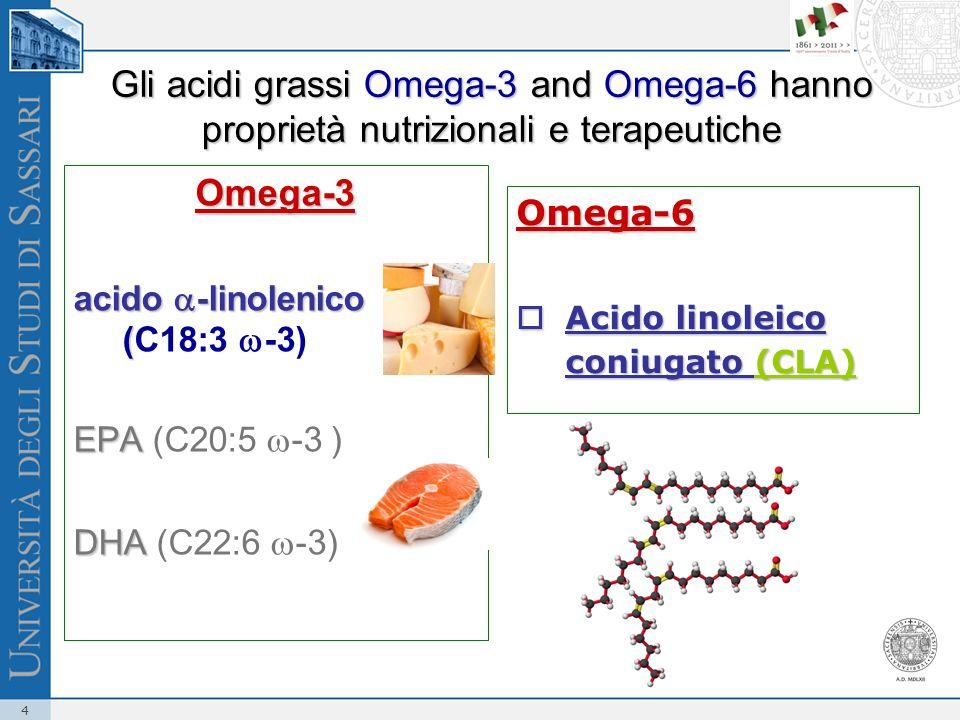 4 Gli acidi grassi Omega-3 and Omega-6 hanno proprietà nutrizionali e terapeutiche Omega-3 acido -linolenico ( acido -linolenico (C18:3 -3) EPA EPA (C