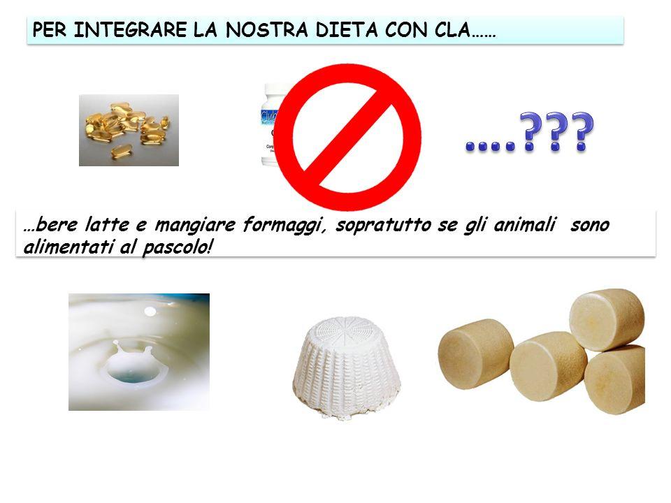 PER INTEGRARE LA NOSTRA DIETA CON CLA…… …bere latte e mangiare formaggi, sopratutto se gli animali sono alimentati al pascolo!