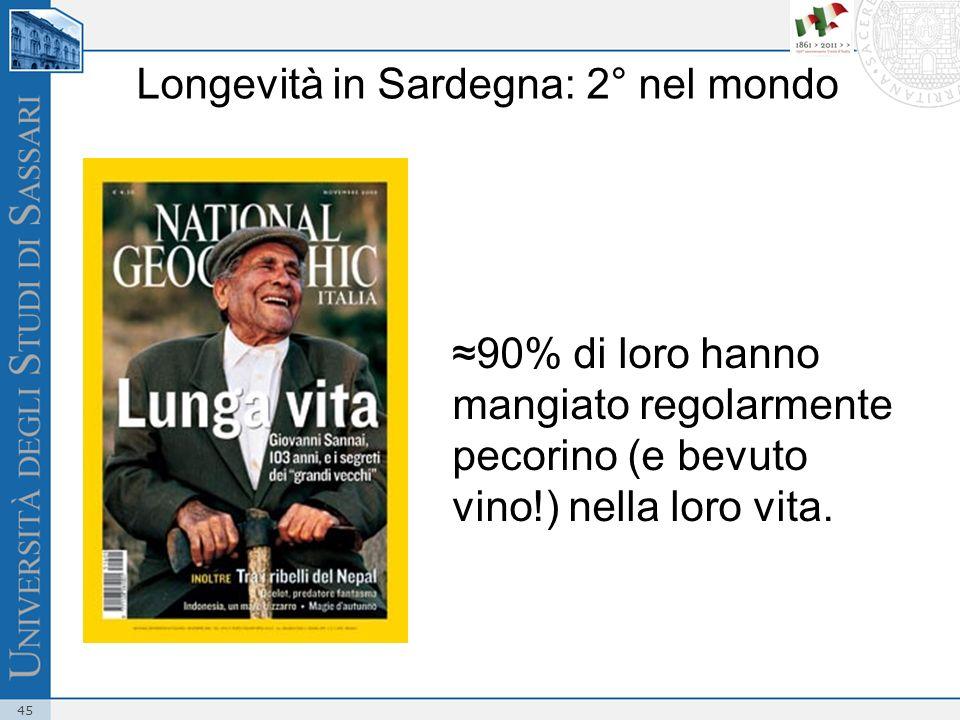 45 90% di loro hanno mangiato regolarmente pecorino (e bevuto vino!) nella loro vita. Longevità in Sardegna: 2° nel mondo