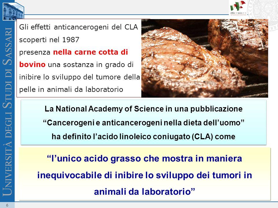 6 Gli effetti anticancerogeni del CLA scoperti nel 1987 presenza nella carne cotta di bovino una sostanza in grado di inibire lo sviluppo del tumore d