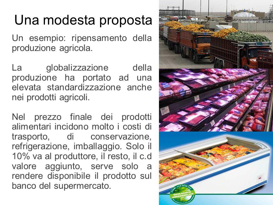 Una modesta proposta Un esempio: ripensamento della produzione agricola. La globalizzazione della produzione ha portato ad una elevata standardizzazio