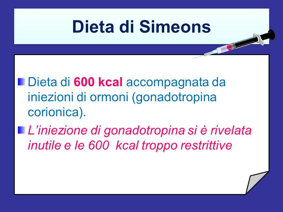 Very low calorie diet (VLCD) Prevede una drastica riduzione dellapporto calorico (circa 500 kcal/die). Trova indicazione in particolari condizioni in