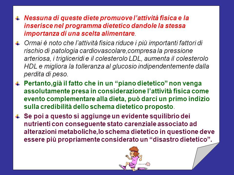 Le diete descritte possono essere considerate tutte nutrizionalmente squilibrate, talora monotone, diseducative e tutte producono degli inconvenienti,