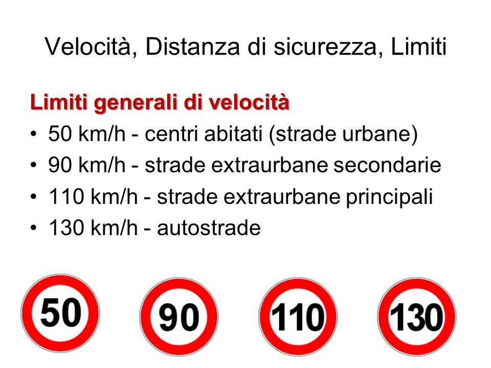 Velocità, Distanza di sicurezza, Limiti Limiti generali di velocità 50 km/h - centri abitati (strade urbane) 90 km/h - strade extraurbane secondarie 1