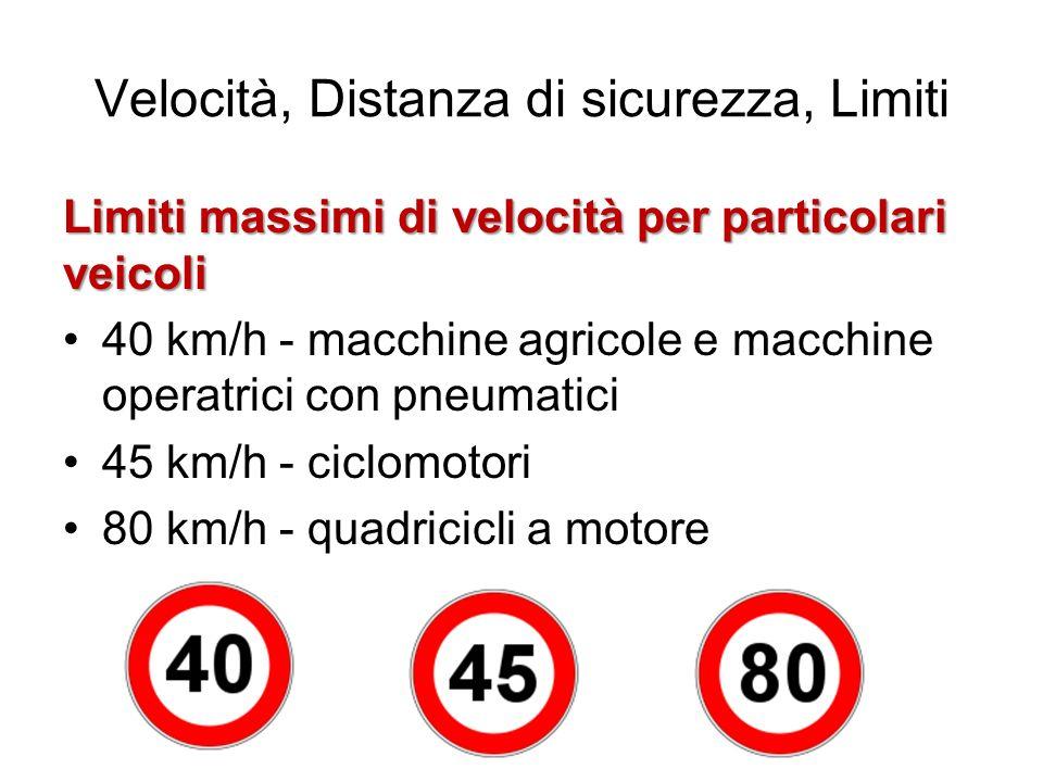 Velocità, Distanza di sicurezza, Limiti Limiti massimi di velocità per particolari veicoli 40 km/h - macchine agricole e macchine operatrici con pneum