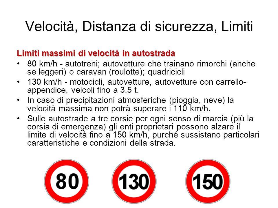 Velocità, Distanza di sicurezza, Limiti Limiti massimi di velocità in autostrada 80 km/h - autotreni; autovetture che trainano rimorchi (anche se legg