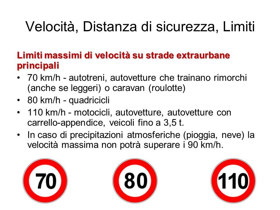 Velocità, Distanza di sicurezza, Limiti Limiti massimi di velocità su strade extraurbane principali 70 km/h - autotreni, autovetture che trainano rimo