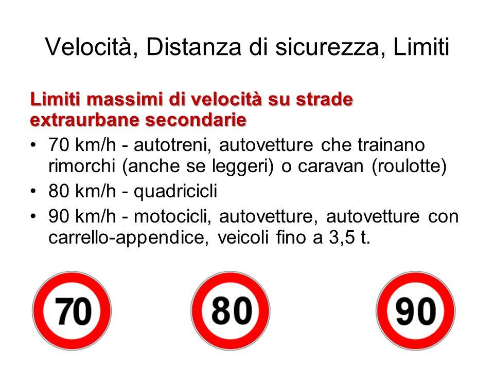 Velocità, Distanza di sicurezza, Limiti Limiti massimi di velocità su strade extraurbane secondarie 70 km/h - autotreni, autovetture che trainano rimo